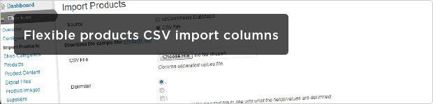 Flexible Products CSV Import Columns