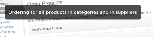 Ordering for all products, in categories and in suppliers