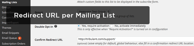 Redirect-URL-per-Mailing-List