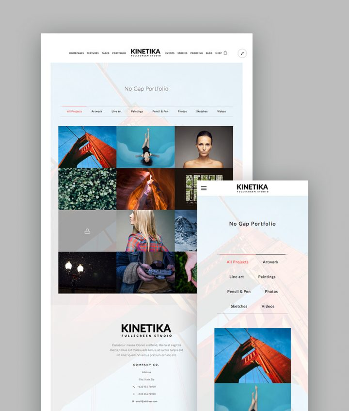 Kinetika WordPress Portfolio Theme