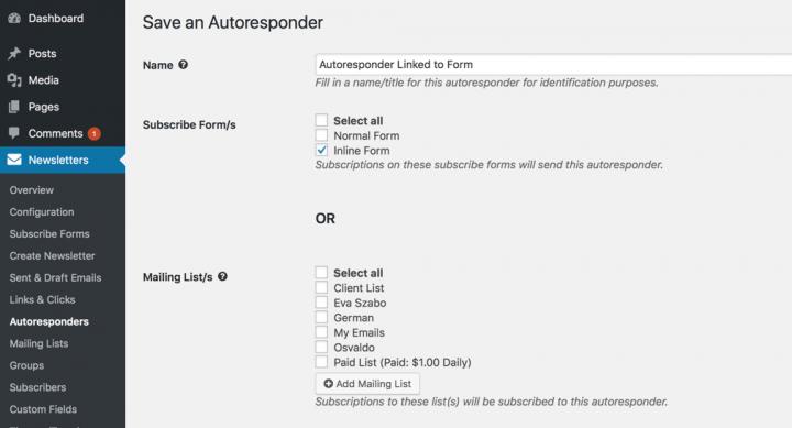 WordPress Newsletter plugin Autoresponder
