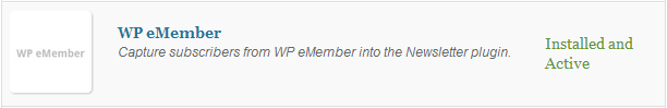 WP eMember extension Plugin (after activation)