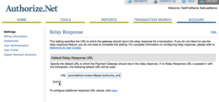 Authorize.net SIM response URL
