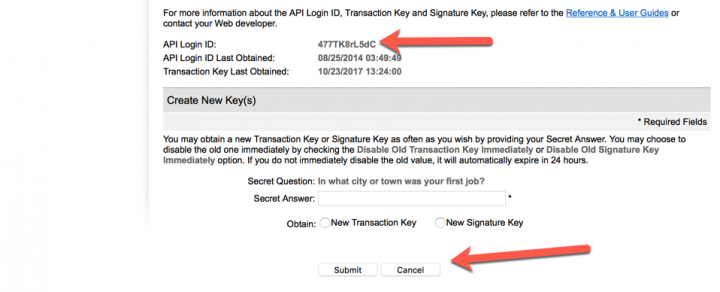 Authorize.net SIM api login id and transaction key
