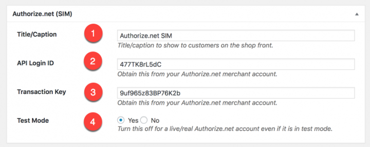 Authorize.net SIM settings