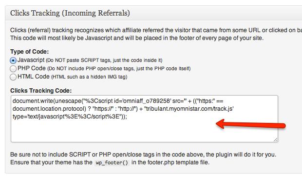 Configure Clicks Tracking Code