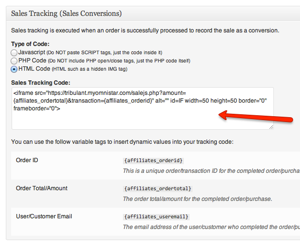 Configure Sales Tracking Code