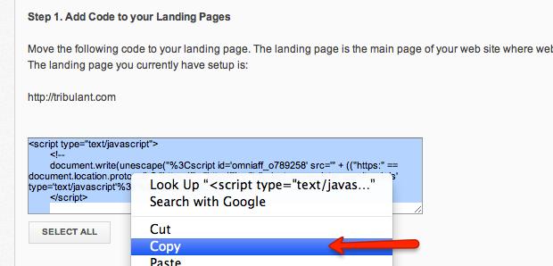 Copy Clicks Tracking Code