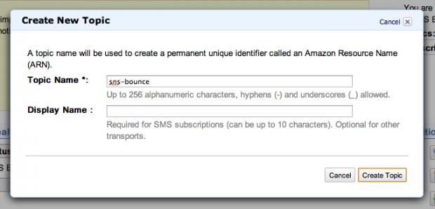 Create Amazon SNS Topic