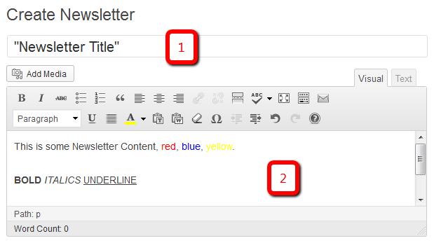 Newsletters: Create Newsletter