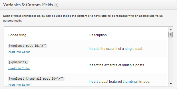 Newsletters:Create Newsletter - Custom Fields