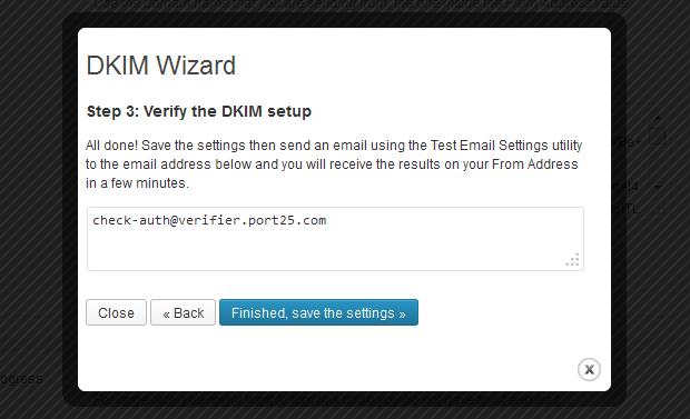 Newsletters: DKIM Wizard Step 3