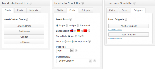 Newsletters: Insert Fields, Posts & Snippets