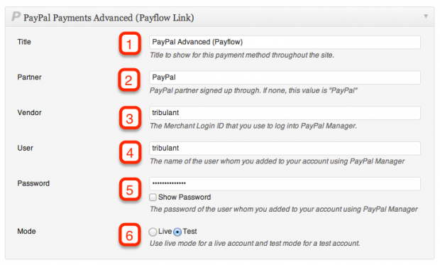 PayPal Advanced Configuration
