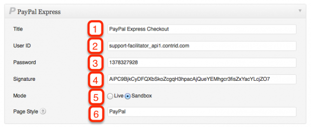 PayPal Express Checkout Configuration Settings