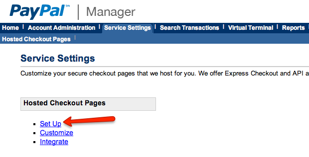 PayPal Manager Service Settings