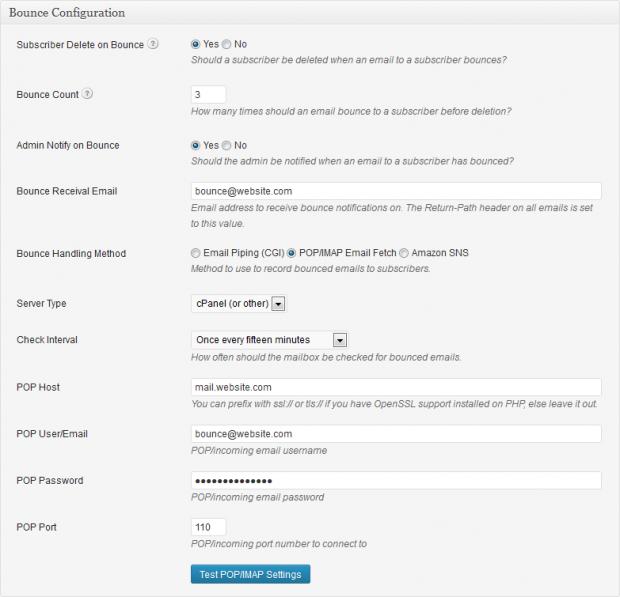 Newsletter Plugin: Bounce Configuration