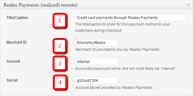 Realex Payments (Realauth Remote) Configuration