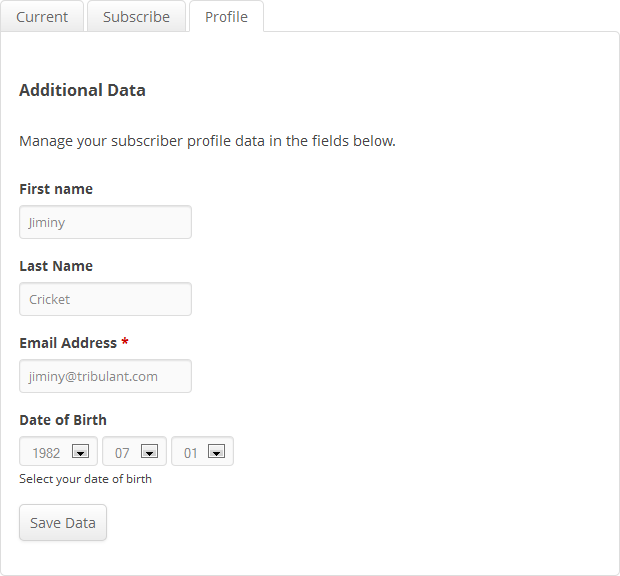 Manage Subscriptions - Profile