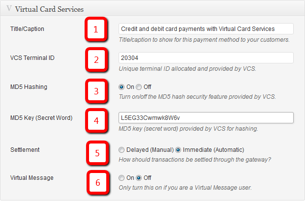 Checkout - Virtual Card Services Extension Plugin: Configuration