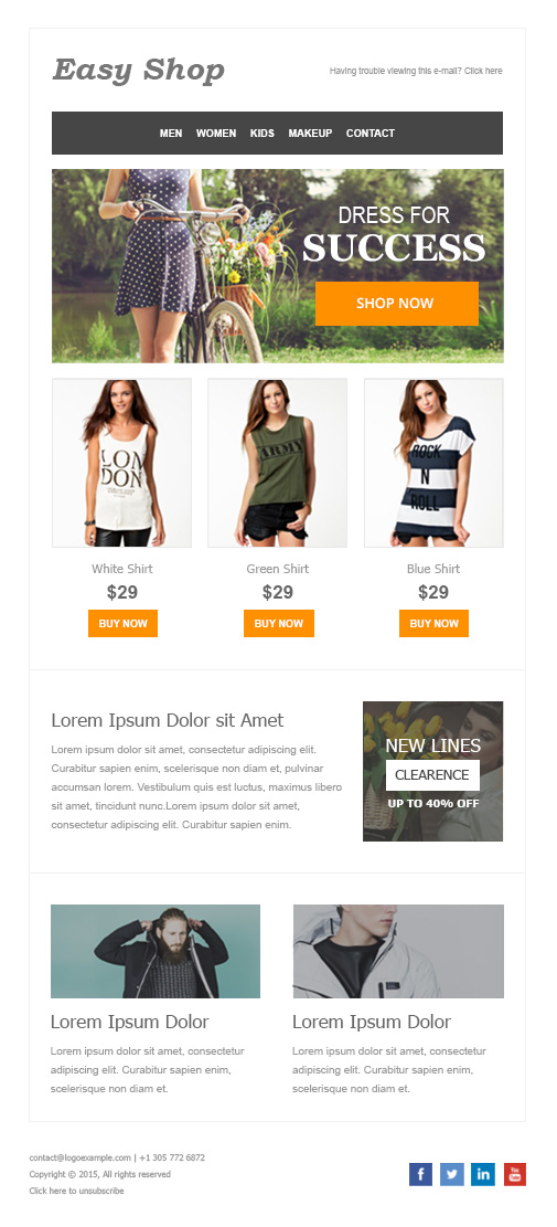 easy shop newsletter template